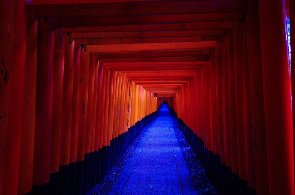 A Torii path across the mountain at Fushimi Inari-taisha, Kyoto