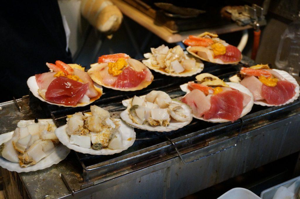 Tsukiji, Magurono Miyako, seafood on the grill