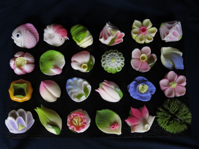 Wagashi in varieties of shapes and colors