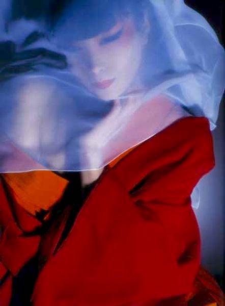 Sayoko Yamaguchi in red kimono