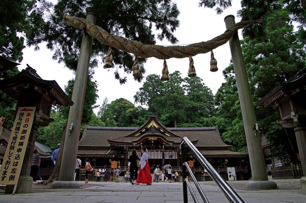 Torii Gate of Omiwa Shrine in Nara, a specific Torii Gate of Ancient Shinto which has no crossbar but only Shimenawa