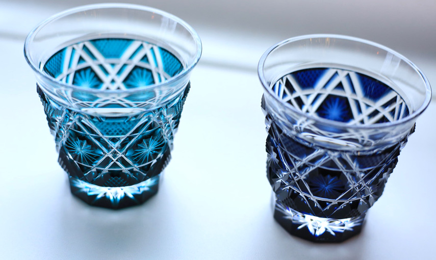 kiriko cut glass, two blue glasses