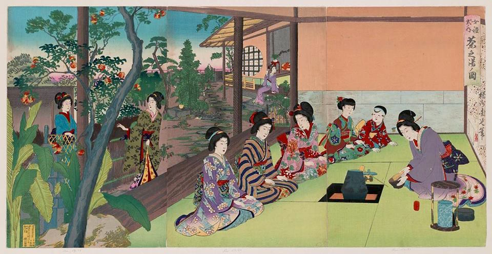 Chano-yu Zu ( Chado Picture), Women in kimono practicing Chado