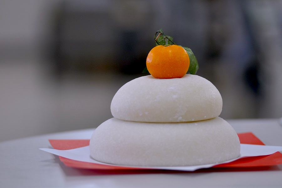 Kagamimochi - pounded rice cake with a mandarin orange on top