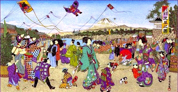 Kite-flying in Edo