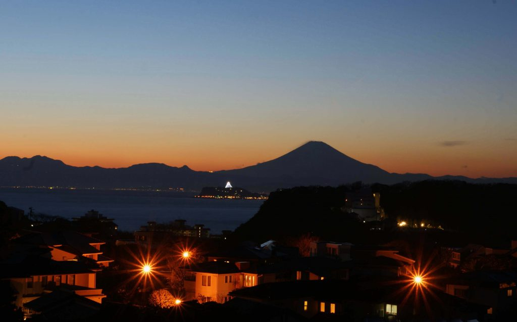 Mt. Fuji at the sunset on Omisoka