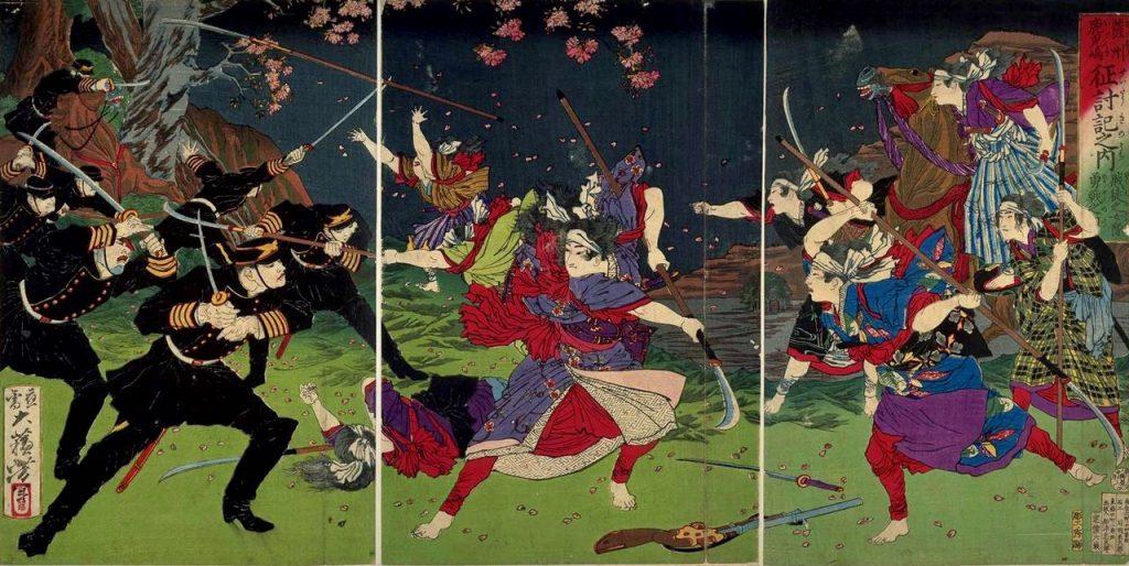Police force and Satsuma Rebellion by Yoshitoshi Tsukioka