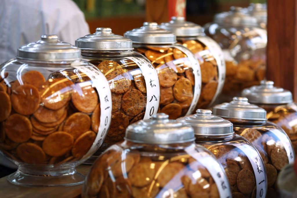 Japanese Rice Crackers in glass jars