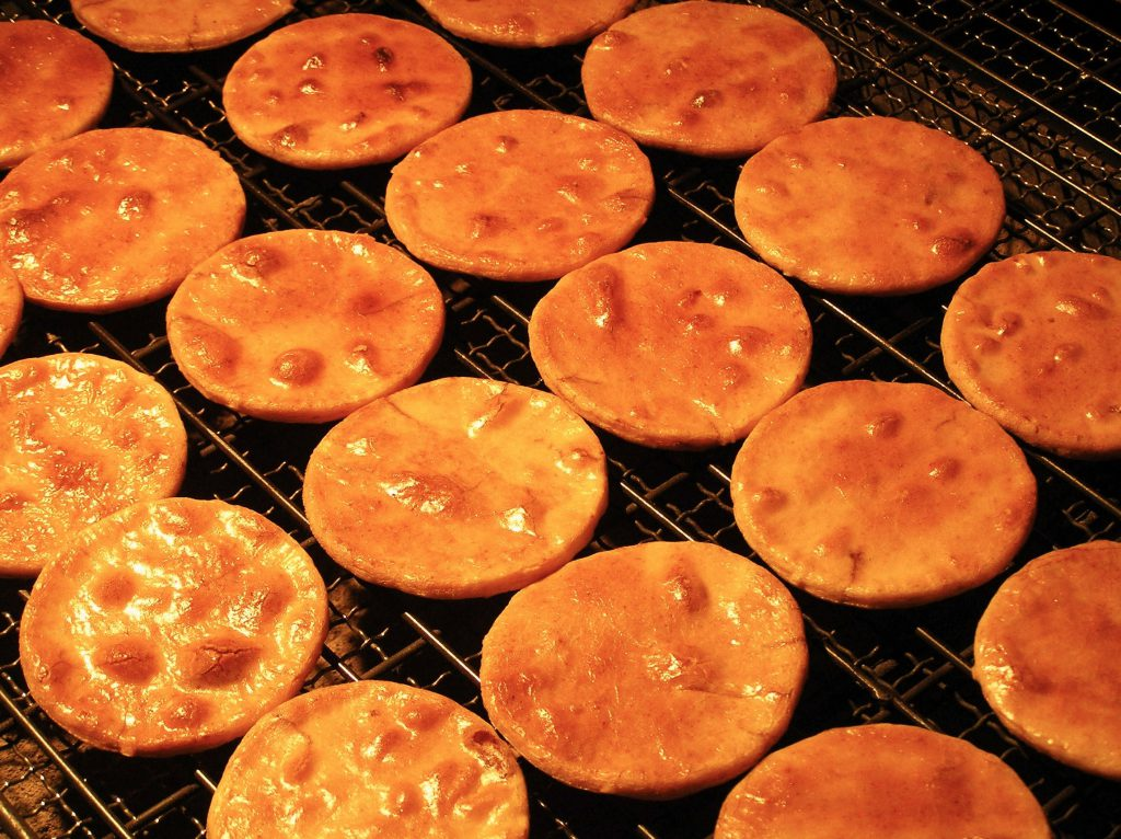 Senbei on the grill