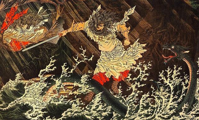 Susanoo no Mikoto slaying Yamata no Orochi in Kojiki