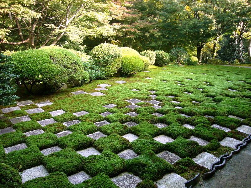 Ichimatsu pattern on the north garden of Tofuku-ji Temple in Kyoto