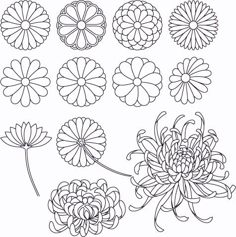Japanese patterns, various patterns of kiku
