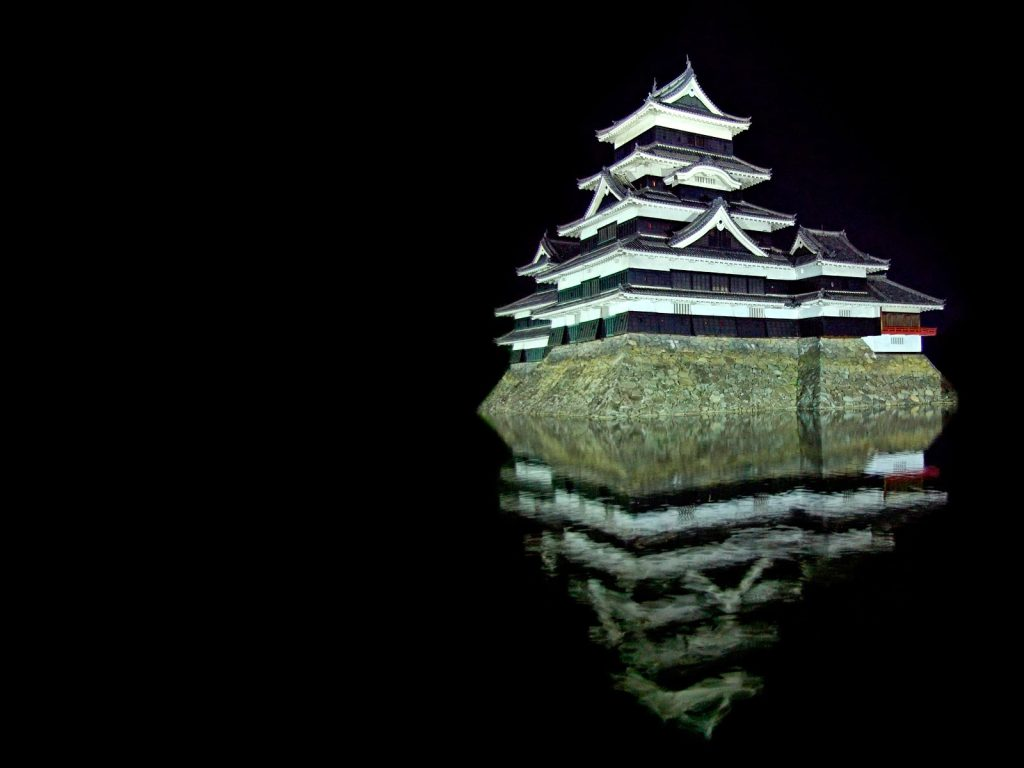 Japanese castle, Matsumoto Castle at night in Nagano