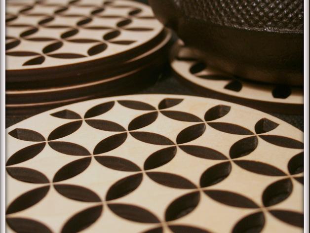 Shippo pattern on wooden trivets