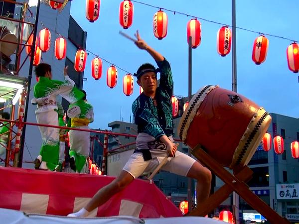 Taiko being performed in the Bon Odori Festival at Sugamo in Tokyo