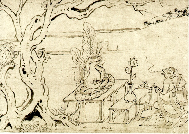 Lotus is offered to a frog portrayed a Buddha in the scrolls of frolicking animals and humans in the Heian Period