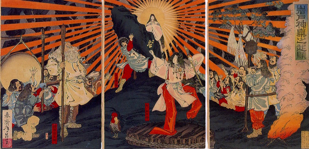 Amaterasu in cave, Amano Iwato myth by