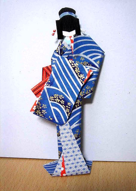 Chiyogami Paper Doll in blue kimono
