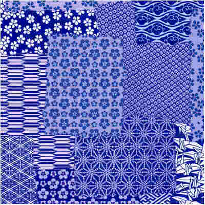 Chiyogami patterns in blue tone