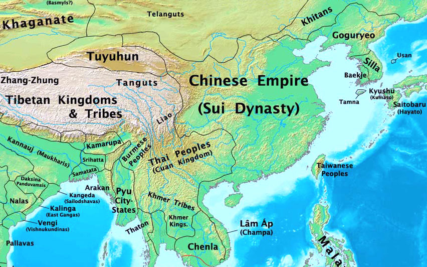 Map of the geographical extension of the Sui Dynasty in 600 AD