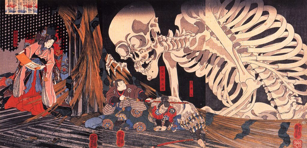 Mitsukuni_defying_the_skeleton_spectre_invoked_by_princess_Takiyasha by Utagawa Kuniyoshi, it isn't originally drawn to depict Gasyadokuro, but its image has been used as Gashadokuro due to its large size