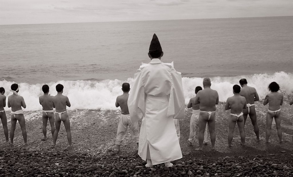 Shinto purification ritual at the beach