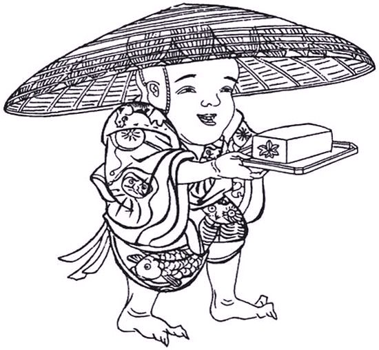 Tofu Kozo, a boy wearing a large hat carrying a piece of tofu on a tray
