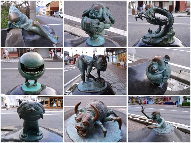 Various Yokai statues in Mizuki Shigeru Road in Sakaiminato, Tottori
