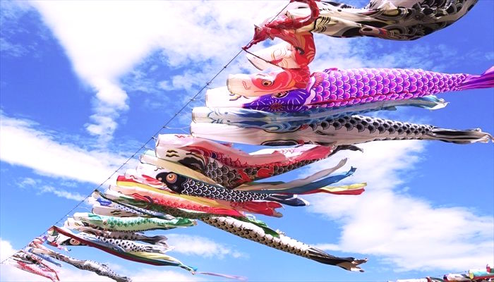 Carp-shaped Streamers of Boy's Festival in May praying for the good health and success for boys