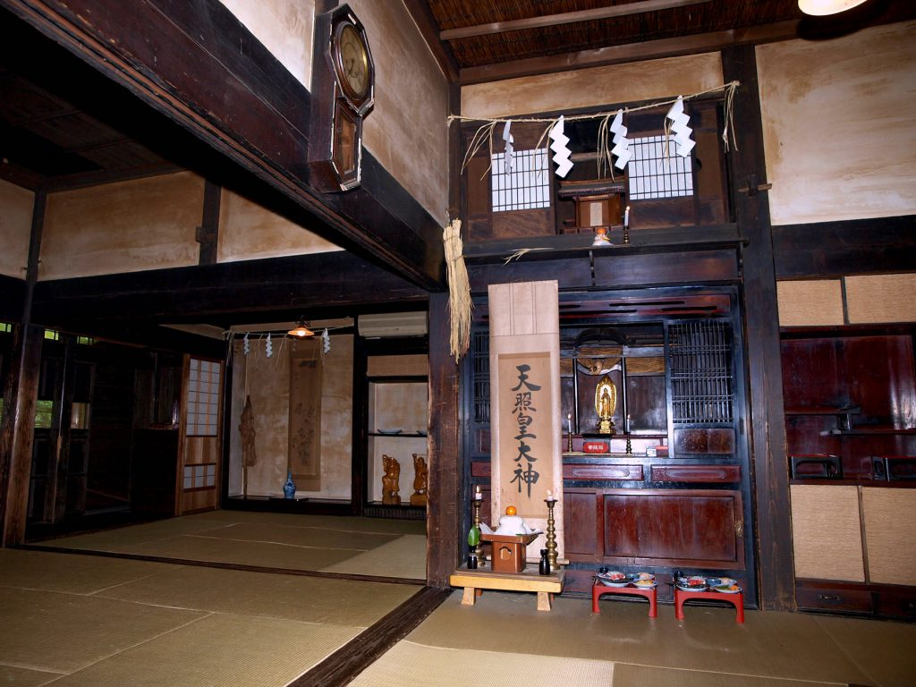 Japan Religion, Shinto shrine altar and Buddhism altar exist together at home in Japan