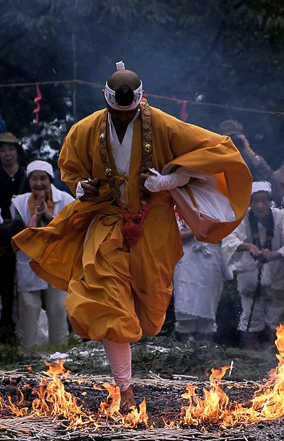 Yamabushi on the training of walking on the fire