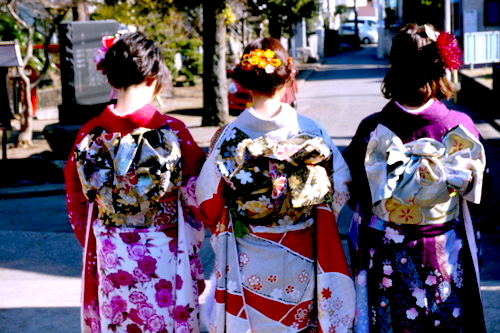 Young Women in Bright Kimono at Coming of Age Ceremony