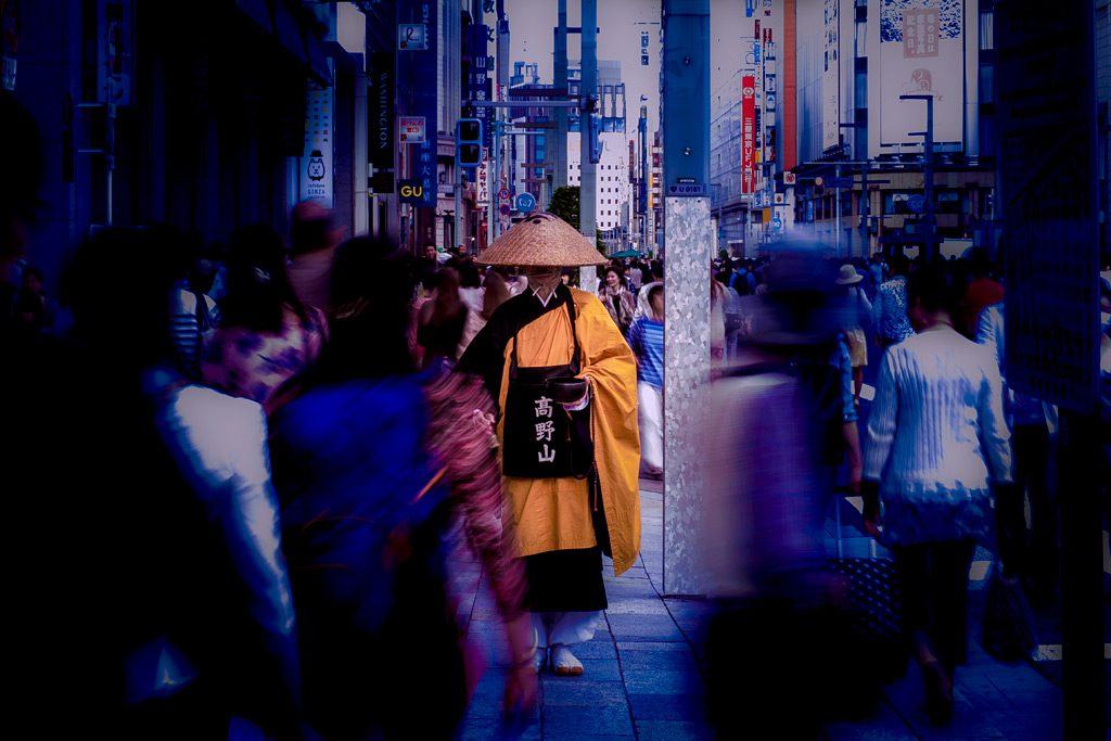 Buddhist monk from Koyasan on the crowded street