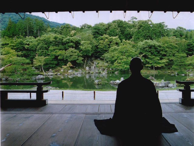Japanese Buddhism, A monk is Sitting Still in front of a pond , Soto Zen Buddhism