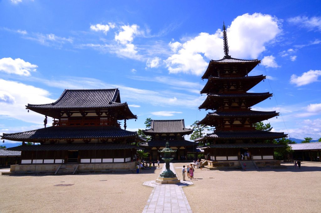 The main hall and the five-storied pagoda of Horyu-ji in Nara