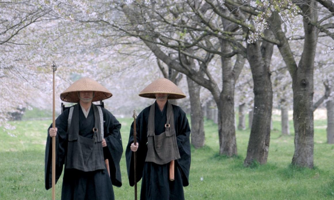 Zen Buddhist monks walking under the cherry blossom