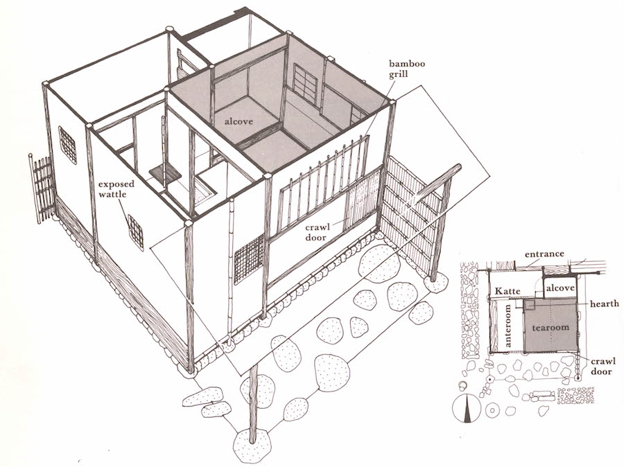 Chasitsu Building Plan, Traditional Yojohan (four and a half tatami mat) Style