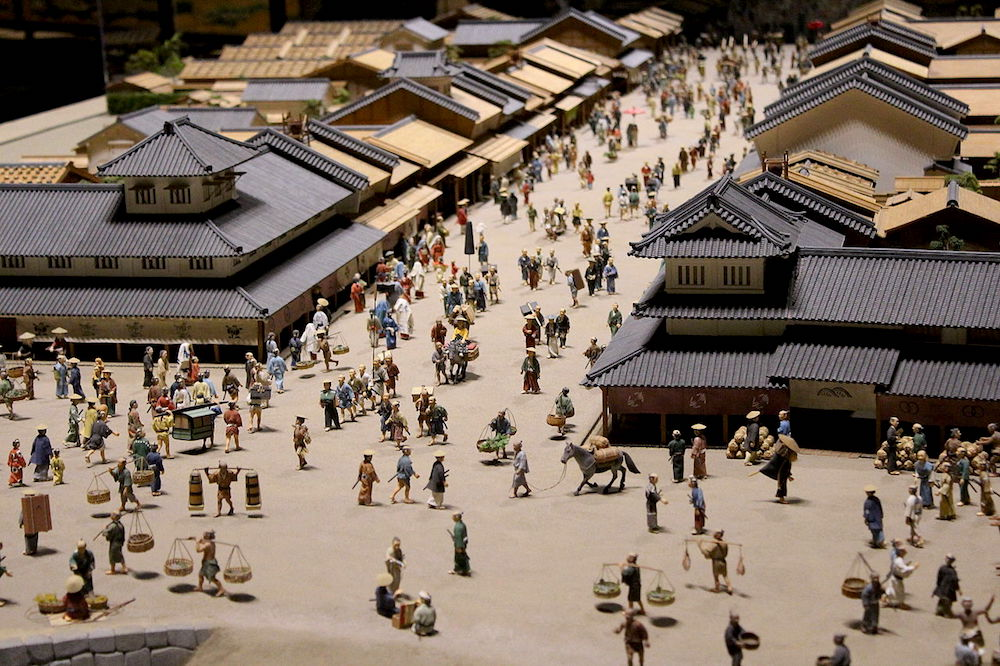 Miniature of reproduction of street in Edo displayed at the Edo Tokyo Museum