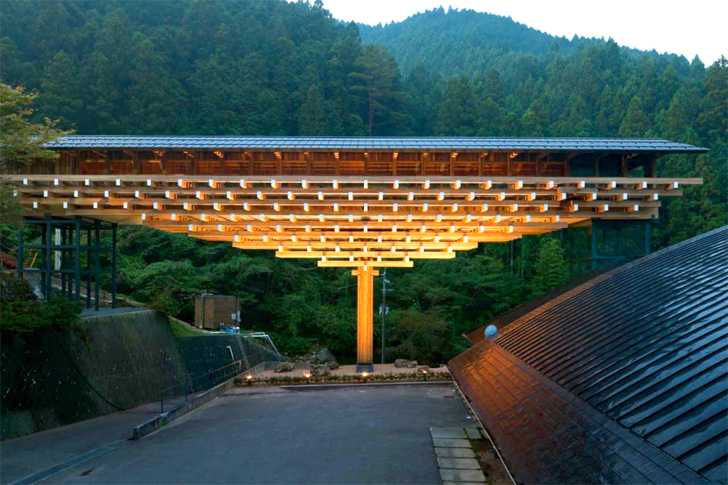Yusuhara Wooden Bridge Museum by Kengo Kuma in Takaoka-gun, Kochi, Japan
