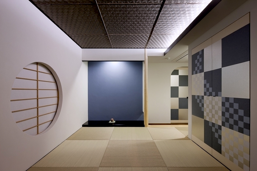 One of the examples of the Modern Tokonoma with blue wall and checkered pattern on sliding doors