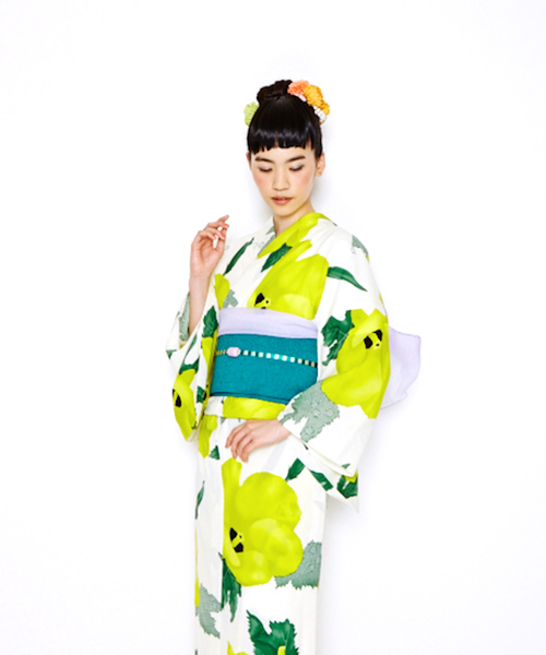 Retro Modern Japanese Traditional Casual Dress with large yellow flower motifs in white color