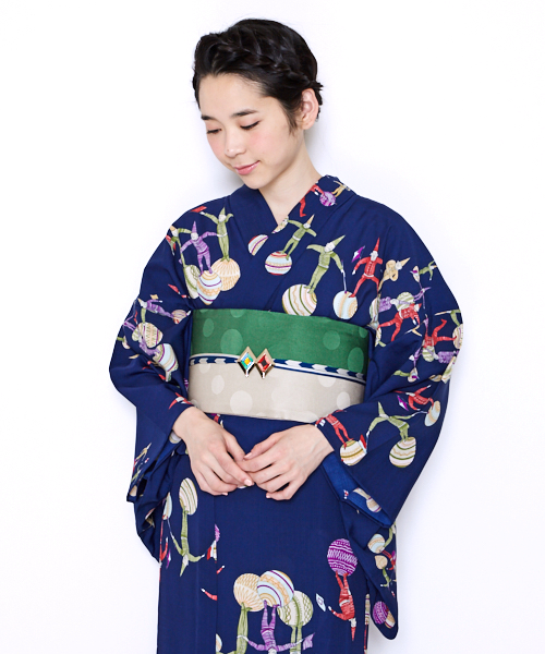 Retro Modern Yukata with clown motifs in navy color