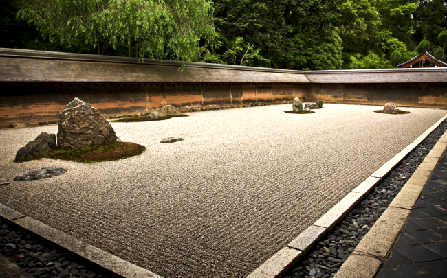 The Rock Garden in Ryuan-ji Temple in Kyoto, Japan