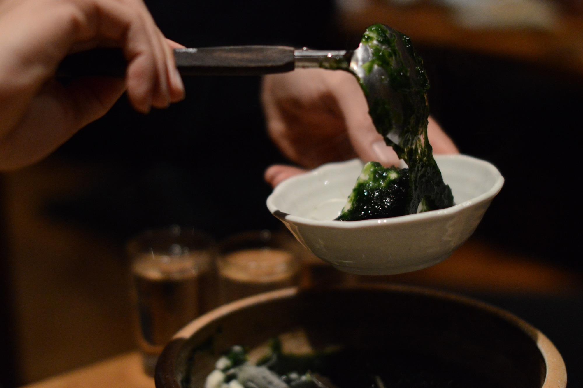 Aonori Dofu, Tofu soaked in green laver soup served