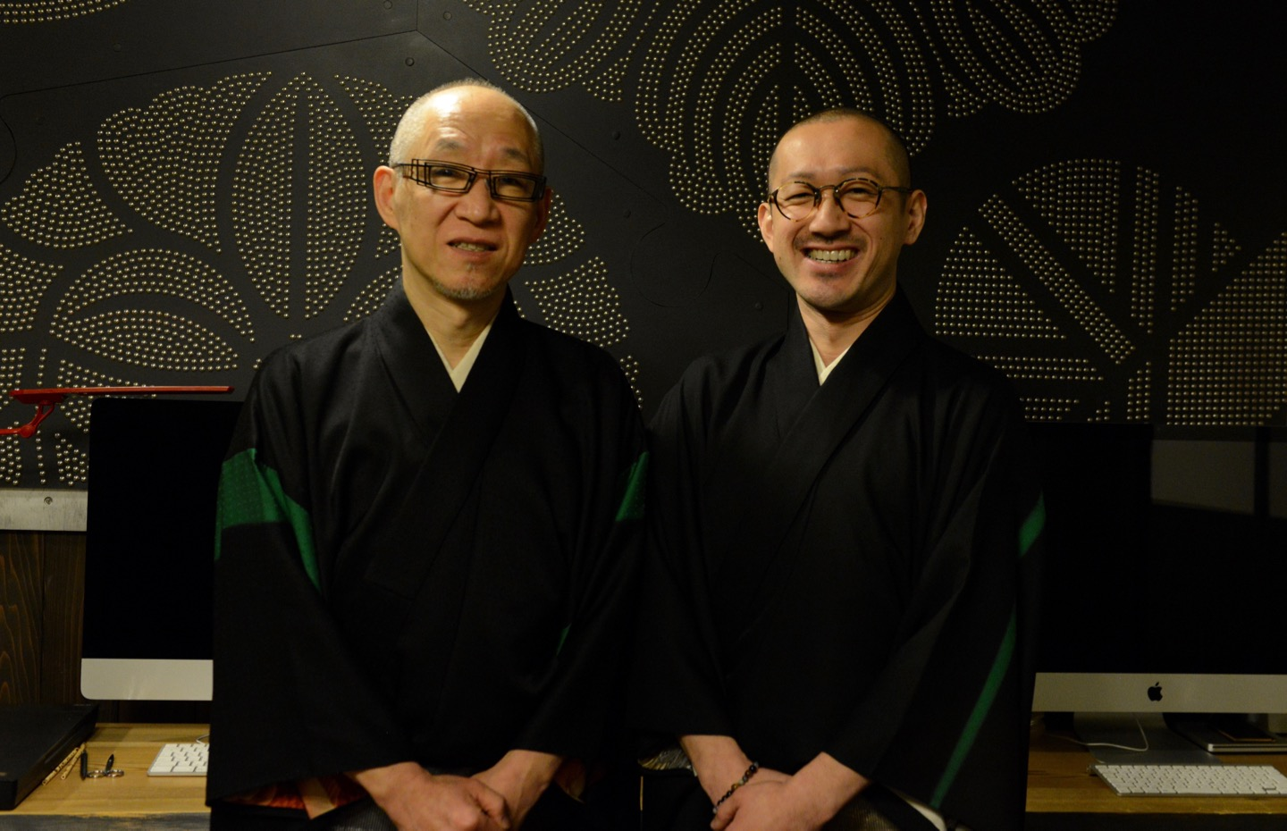 The Japanese Family Crest Artisans, Shoryu and Yoji Hatoba at their design studio in Ueno, Tokyo
